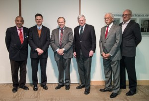 (L-R) Rep. John Conyers, me, and former U.S. Ambassadors Princeton Lyman, John Campbell, Howard Jeter, and Mark Bellamy (L-R) at the book launch at American University, January 2015.
