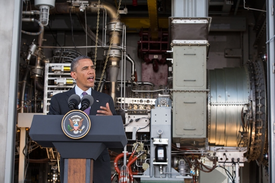 Obama speaking at a power plant in Tanzania, July 2013 (White House photo)